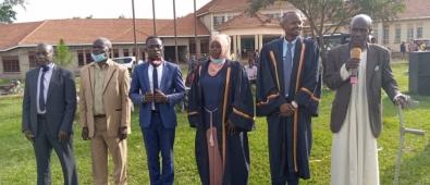 (R-L)District chairperson Hon Ffefeeka Sserubogo, District Speaker-Hon Bulinson Saleh,Deputy Speaker Hon Nakimera & other Executive members after being sworn in